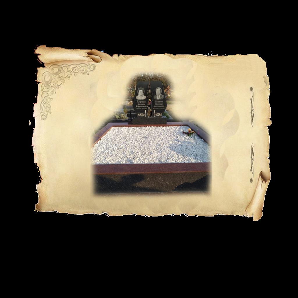 Облицовка красным гранитом верх и полировнным керамогранитом боковые стороны, внутри цоколя засыпка мраморной крошкой